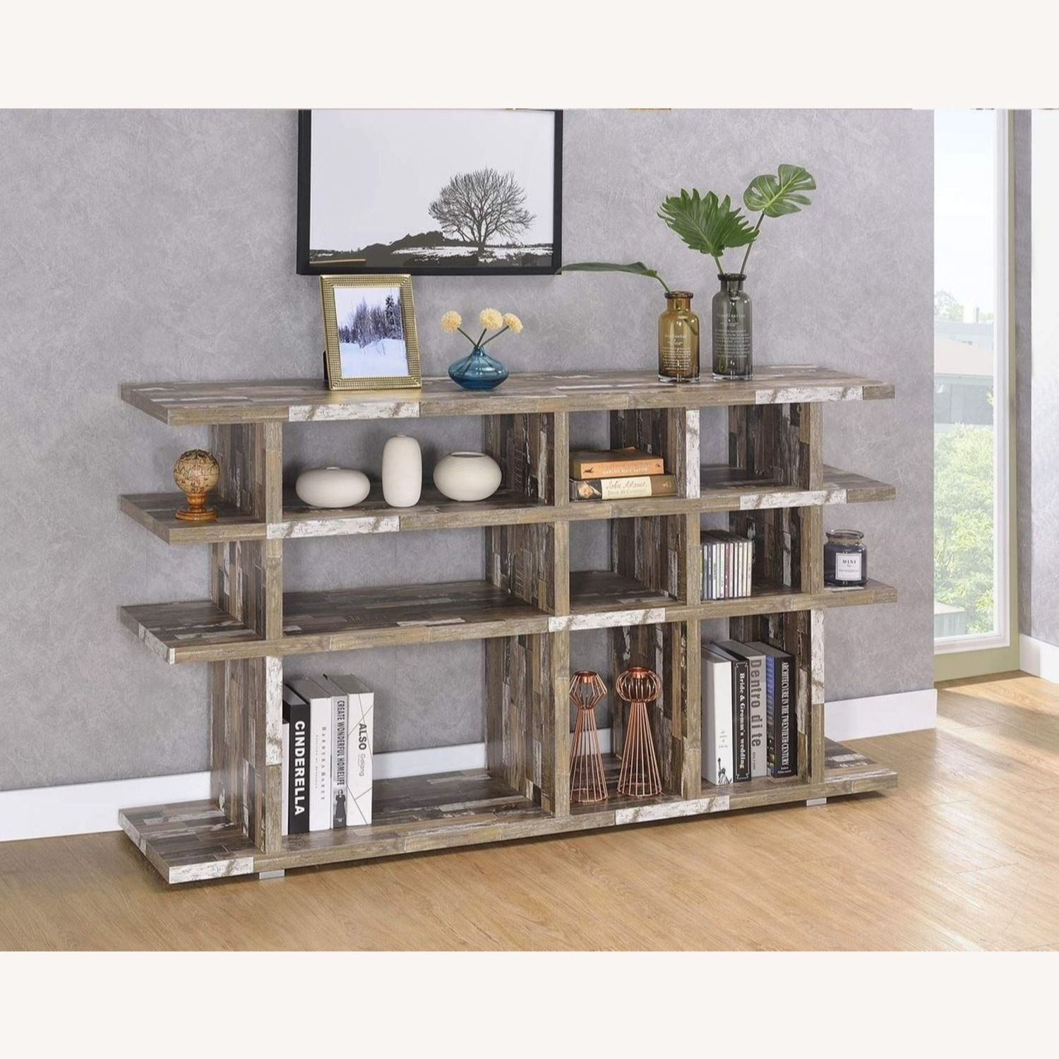 Modern Wood Style Bookcase In Salvaged Cabin - image-3