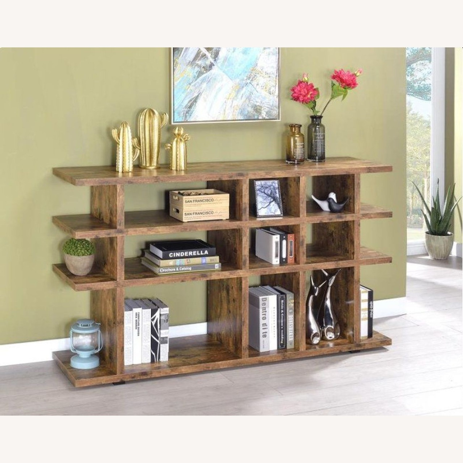 Contemporary Bookcase In Antique Nutmeg - image-3