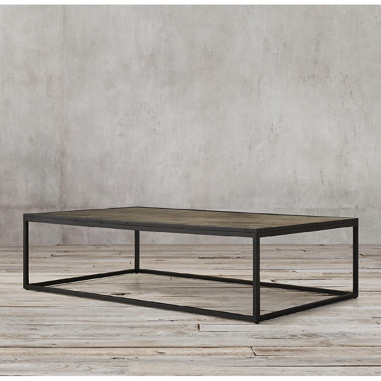 Restoration Hardware Metal Parqurt Coffee Table - image-5