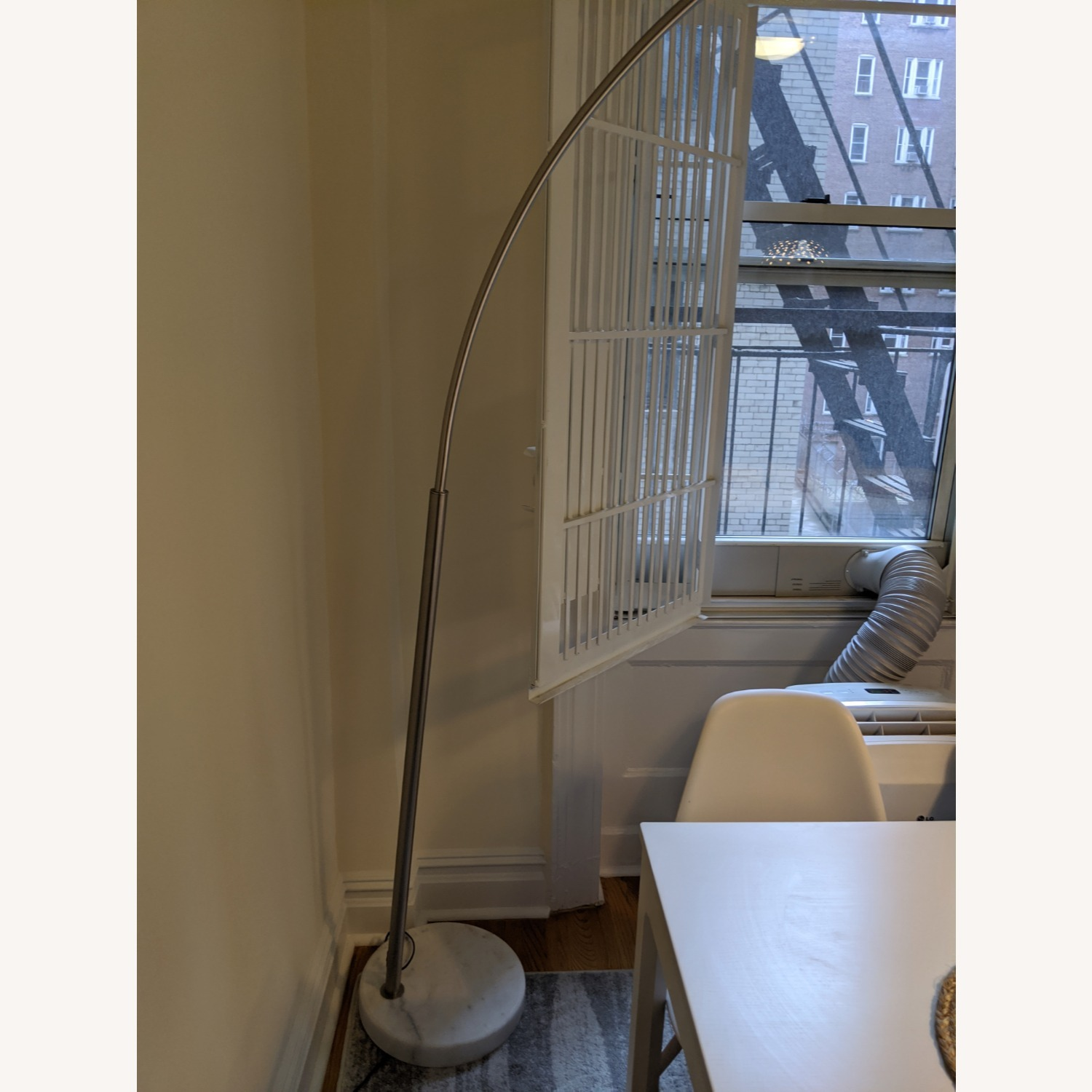 Arched Floor Lamp Chrome & Marble - image-2
