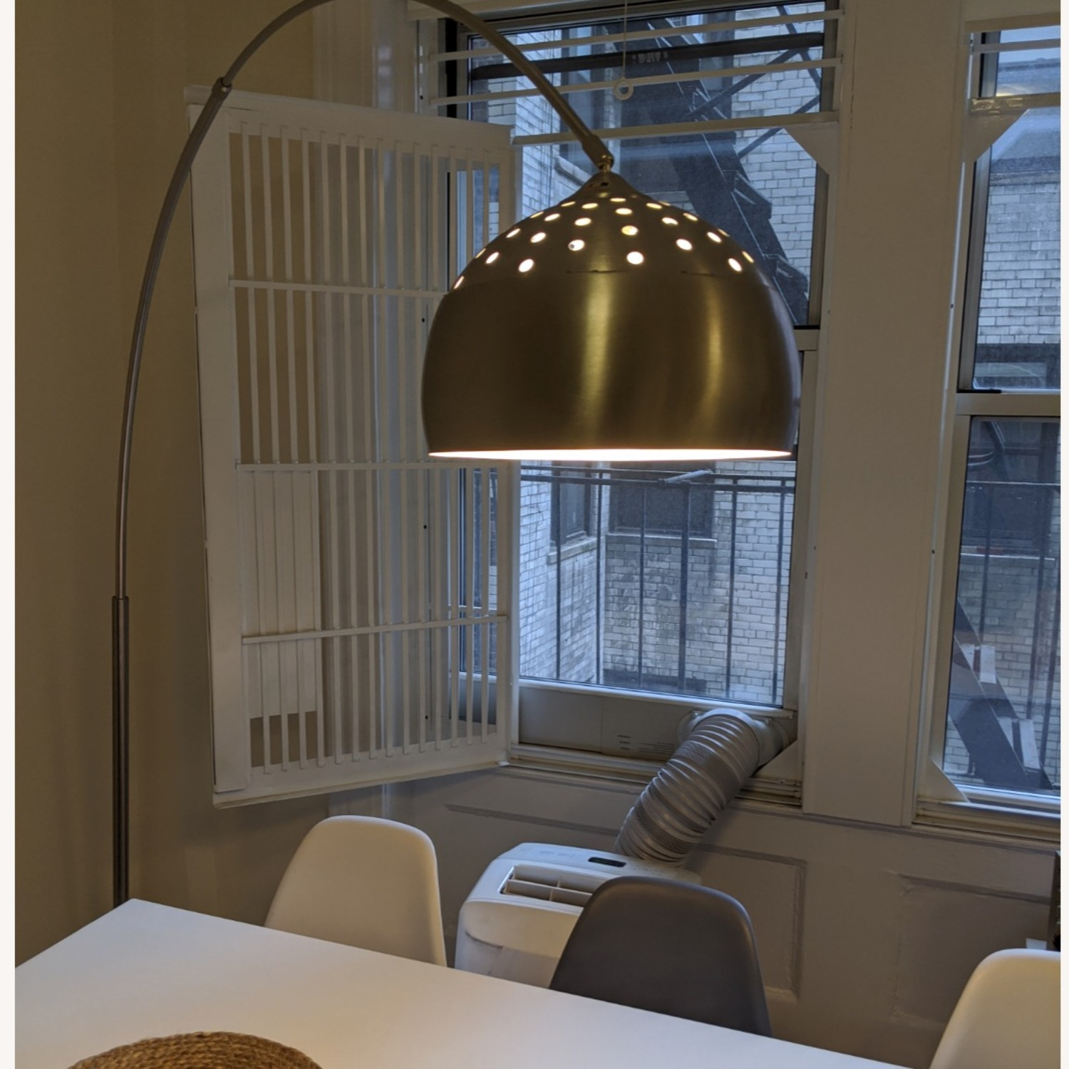Arched Floor Lamp Chrome & Marble - image-1