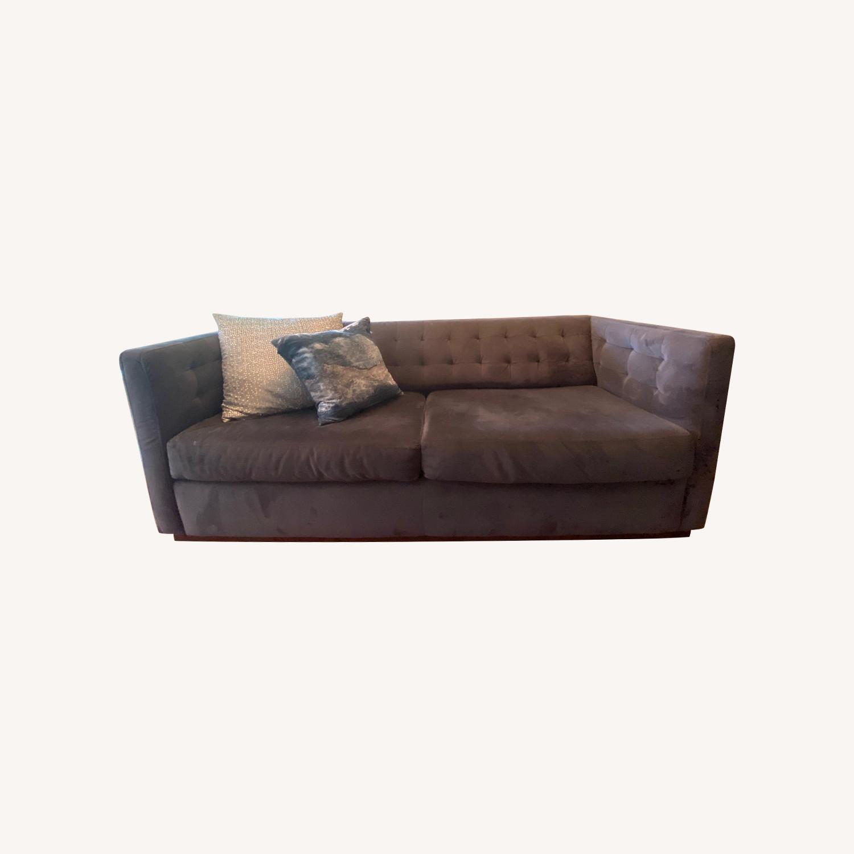 West Elm Modern Velvet Couch - image-0