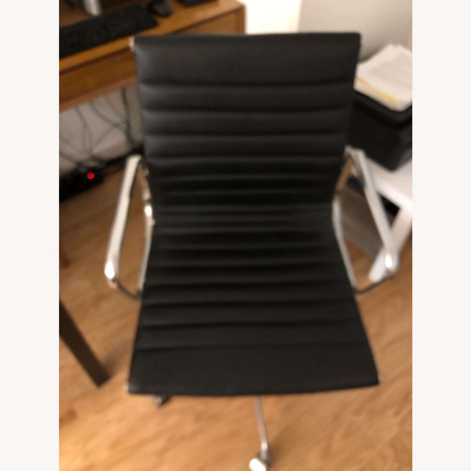West Elm Black Leather Office Chair - image-1