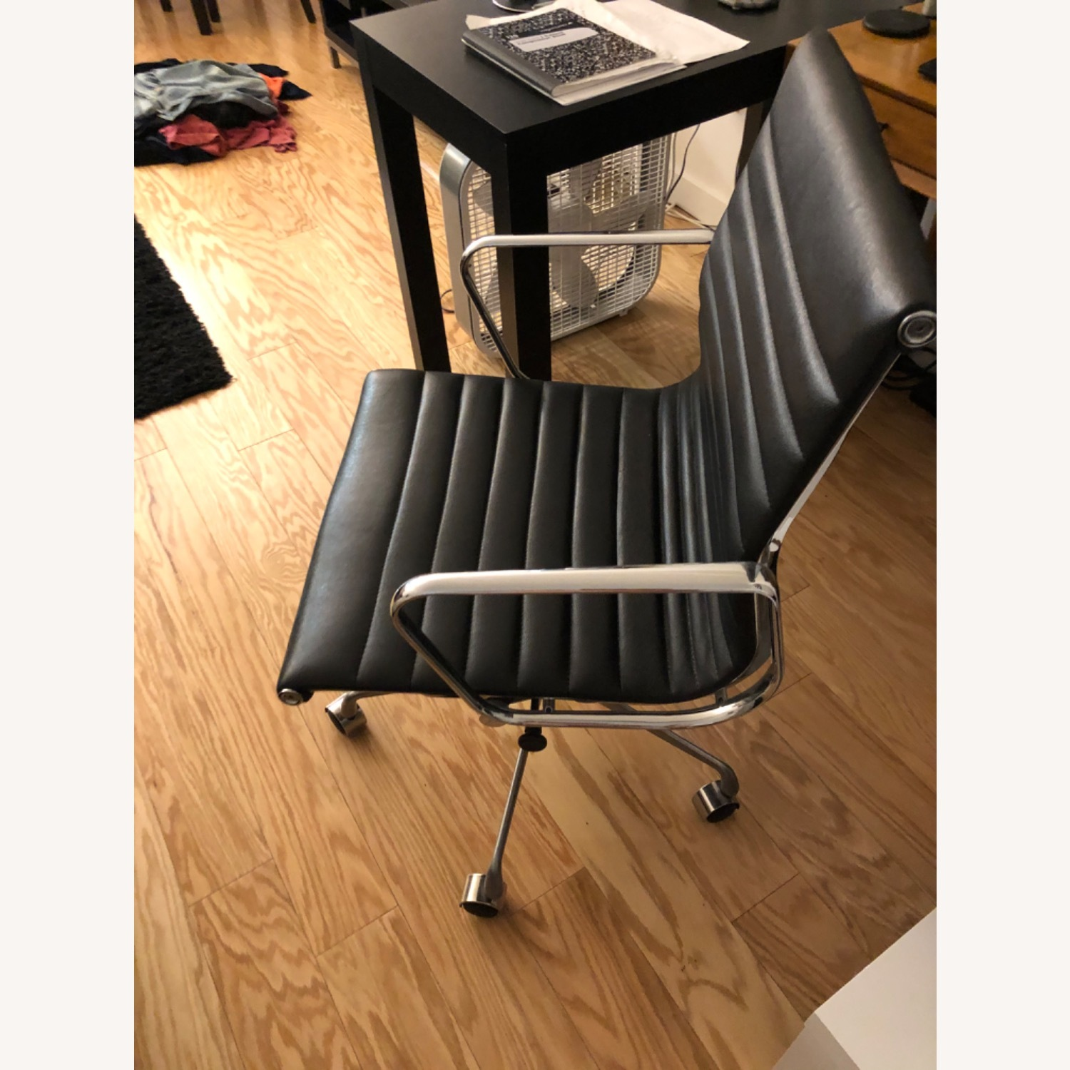 West Elm Black Leather Office Chair - image-3