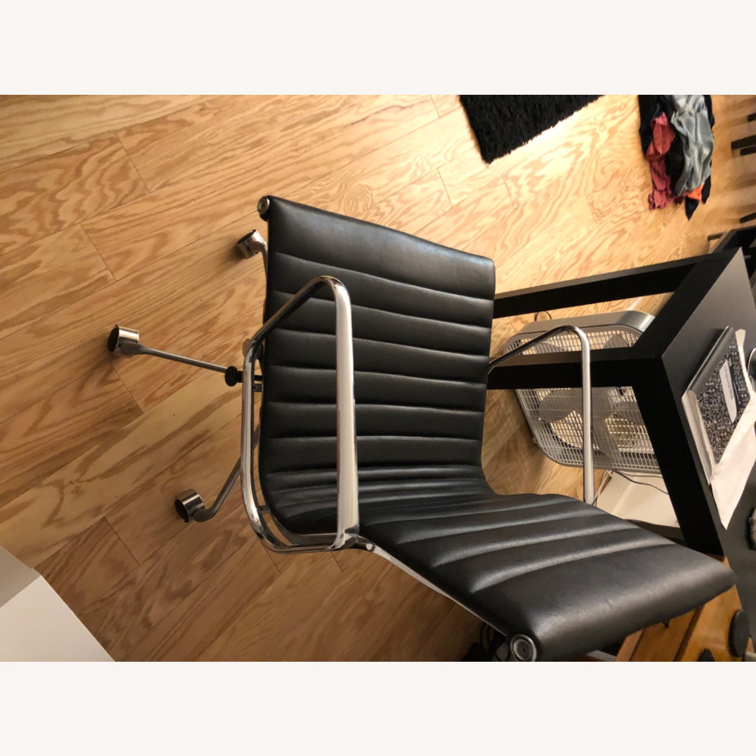 West Elm Black Leather Office Chair - image-7