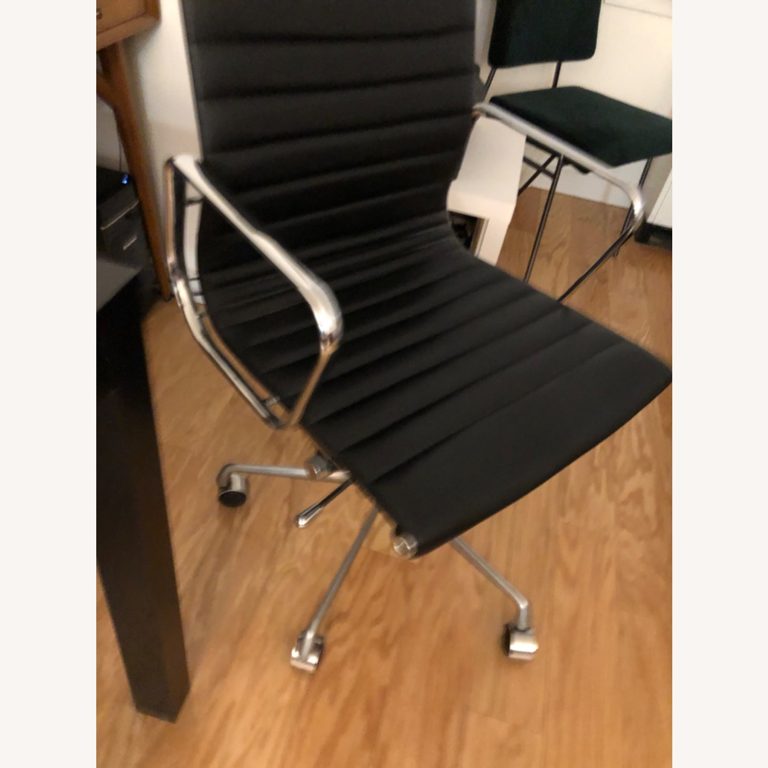 West Elm Black Leather Office Chair - image-2