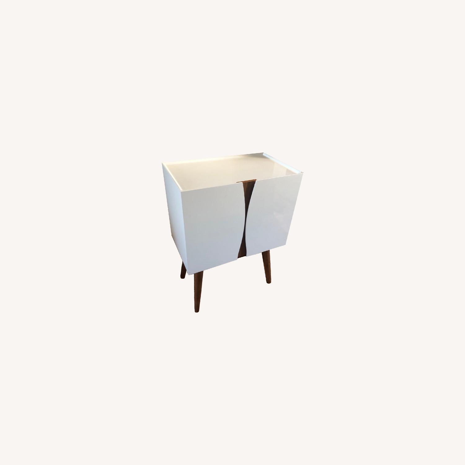 Midcentury Modern White Lacquer and Wood Cabinet - image-0