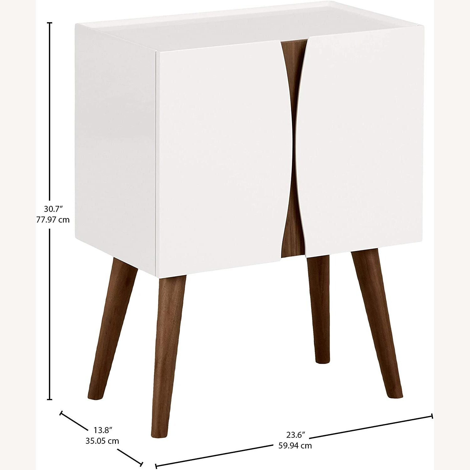 Midcentury Modern White Lacquer and Wood Cabinet - image-5