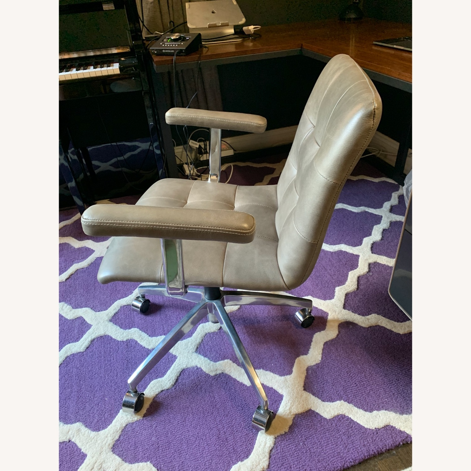 Crate and Barrel Leather Office Chair - image-2