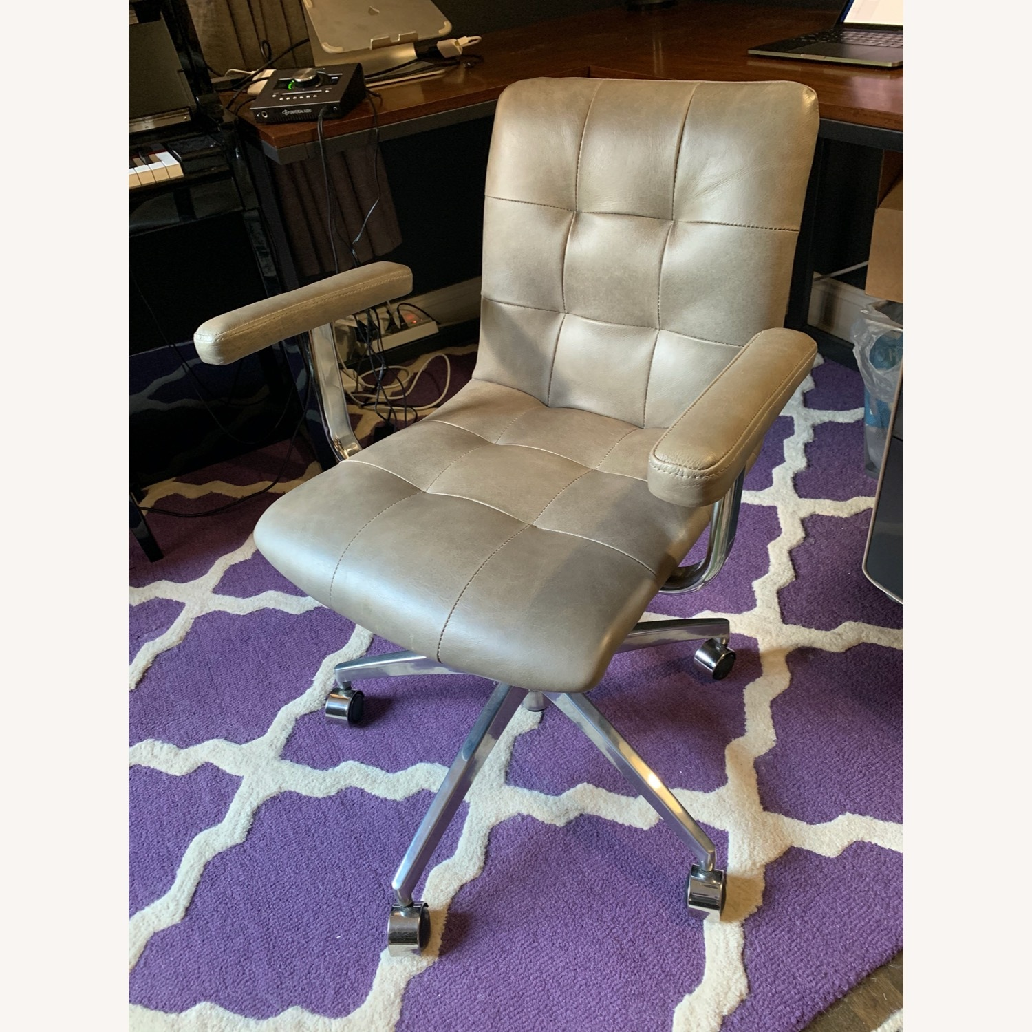 Crate and Barrel Leather Office Chair - image-1