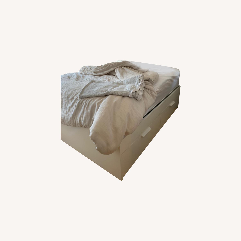 IKEA White Platform Bed ( w/ Storage drawers) - image-0