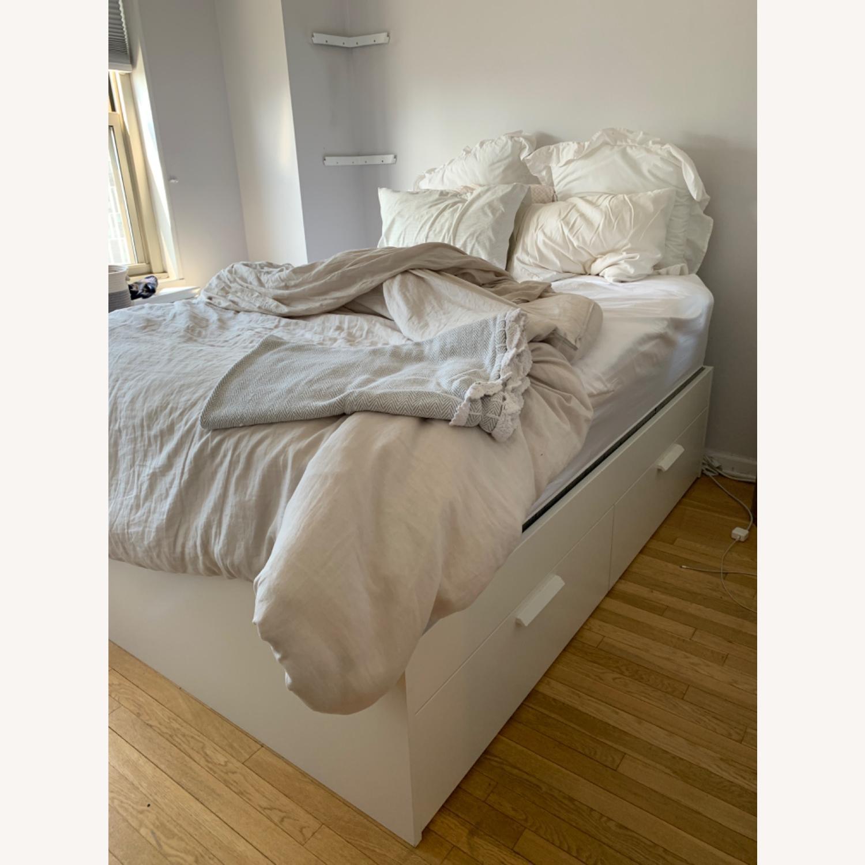 IKEA White Platform Bed ( w/ Storage drawers) - image-1