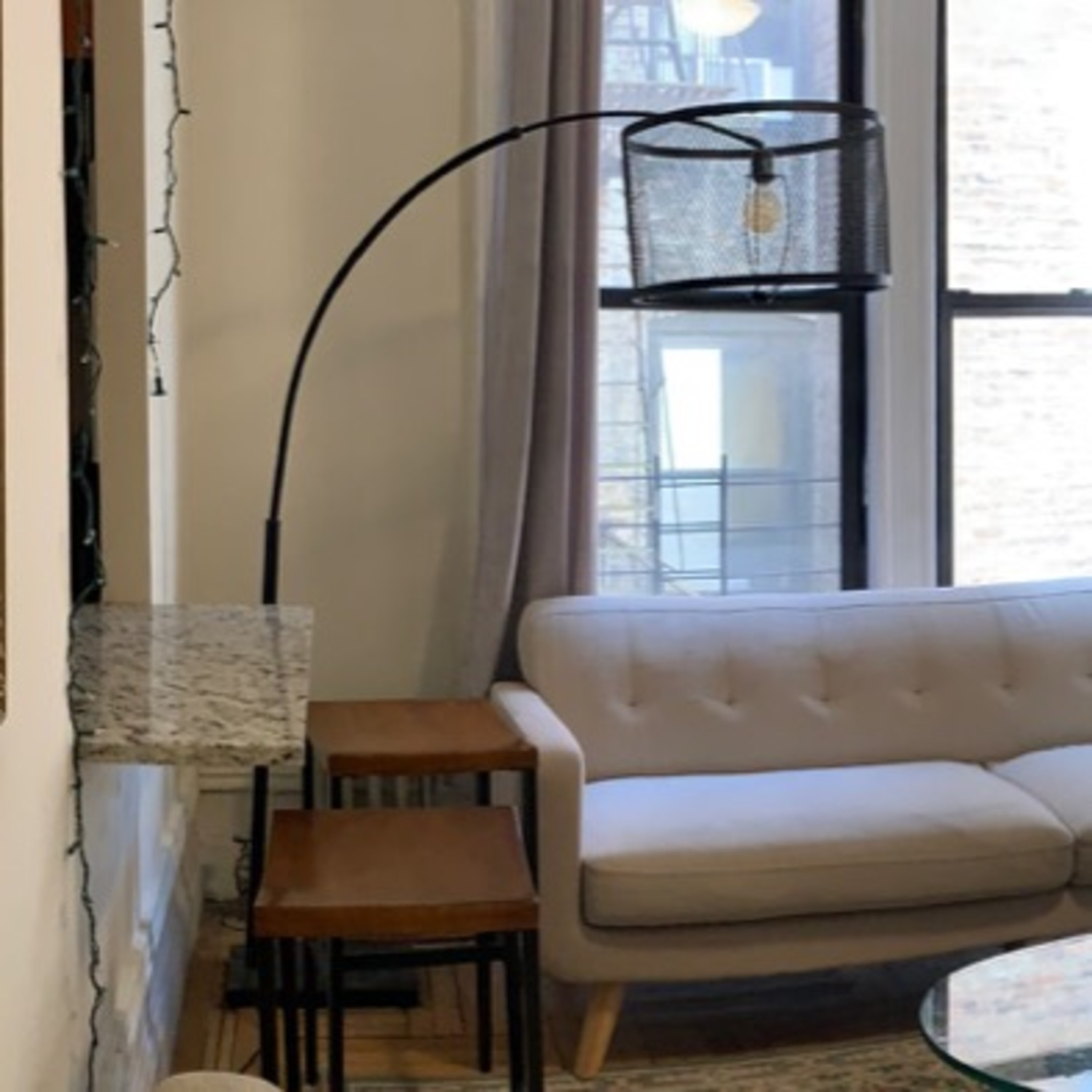 Arched Black Wire Floor Lamp - image-2