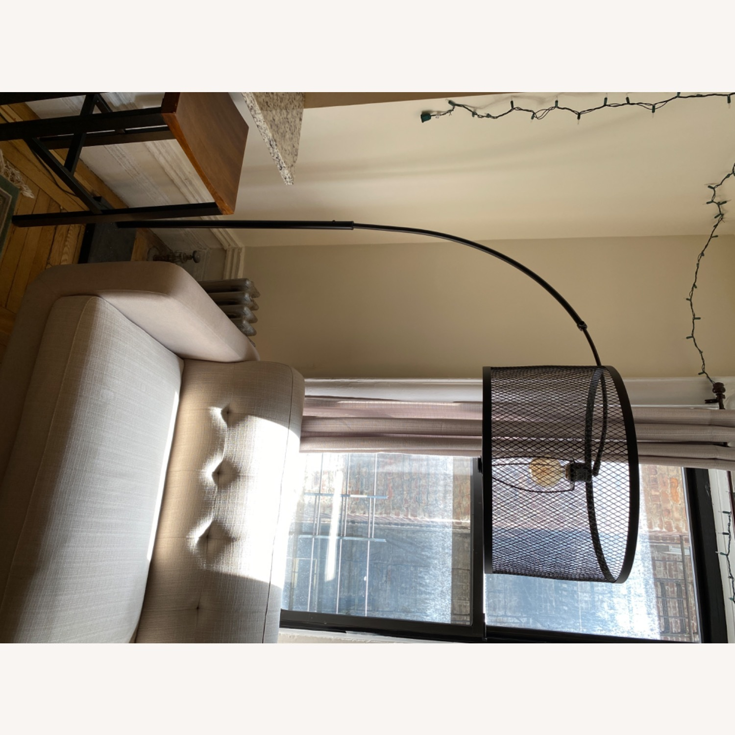 Arched Black Wire Floor Lamp - image-6