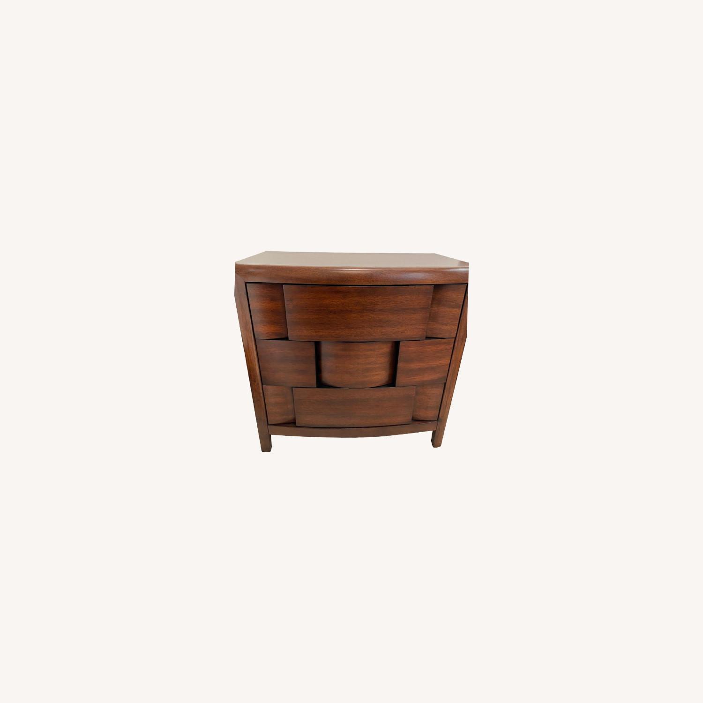 Raymour & Flanigan Mahogany Wood Nightstand - image-0