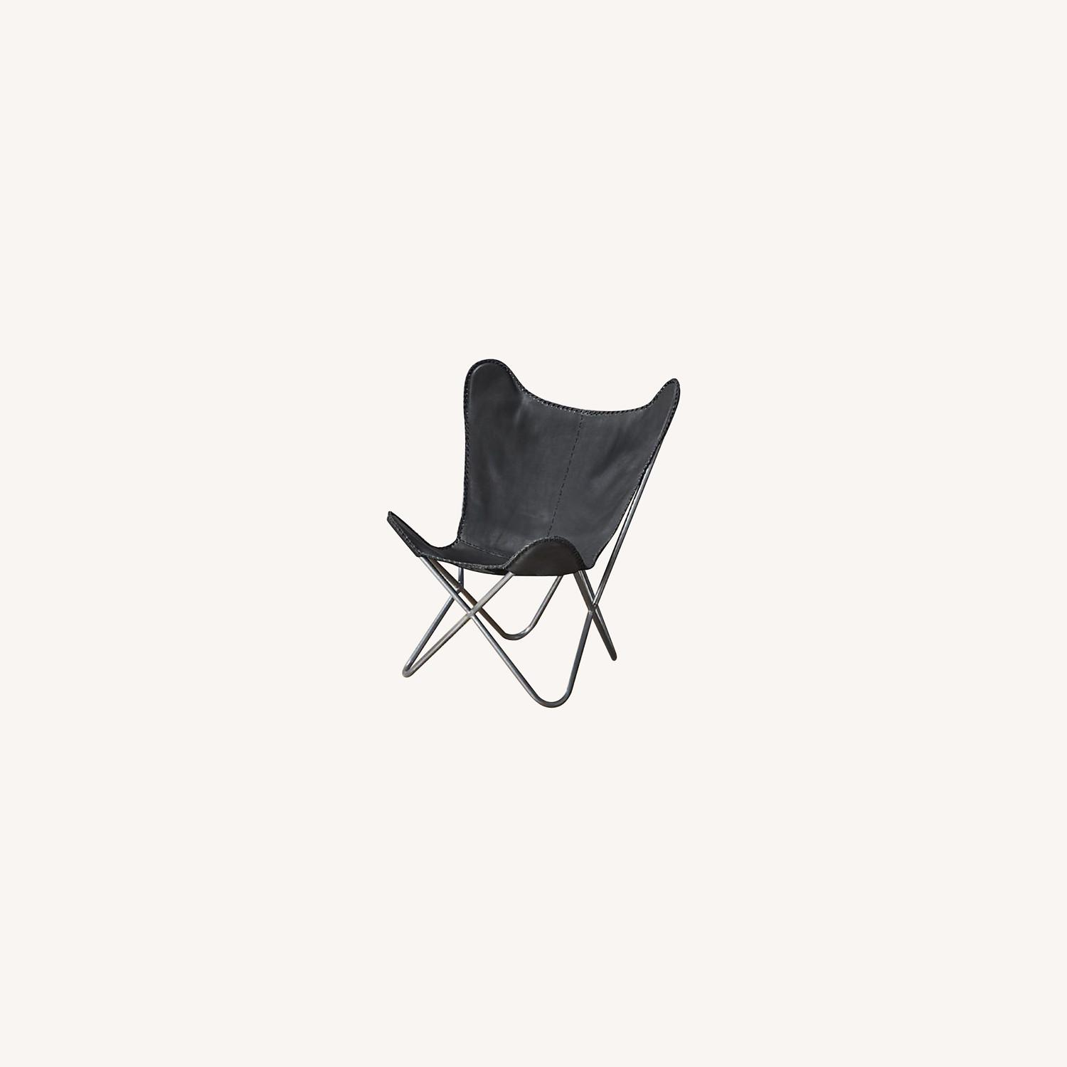 CB2 Black Leather Butterfly Chair - image-0