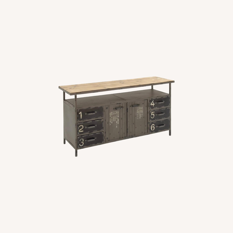 Industrial Six Drawer Buffet w/ top shelf - image-0