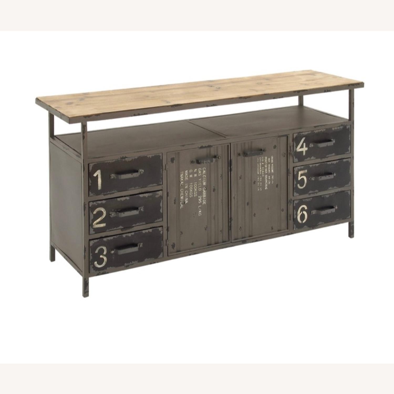 Industrial Six Drawer Buffet w/ top shelf - image-3