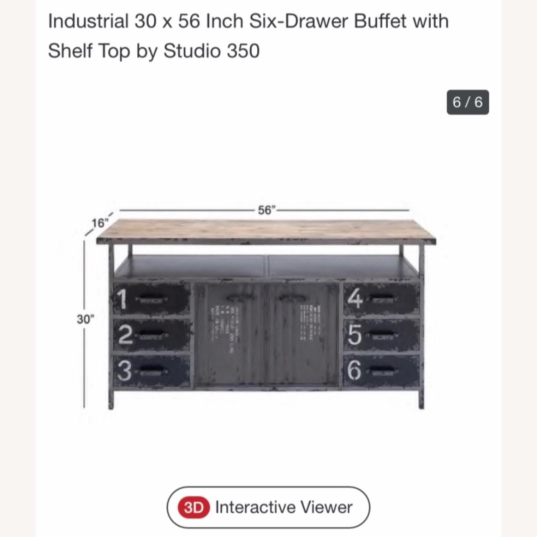 Industrial Six Drawer Buffet w/ top shelf - image-2