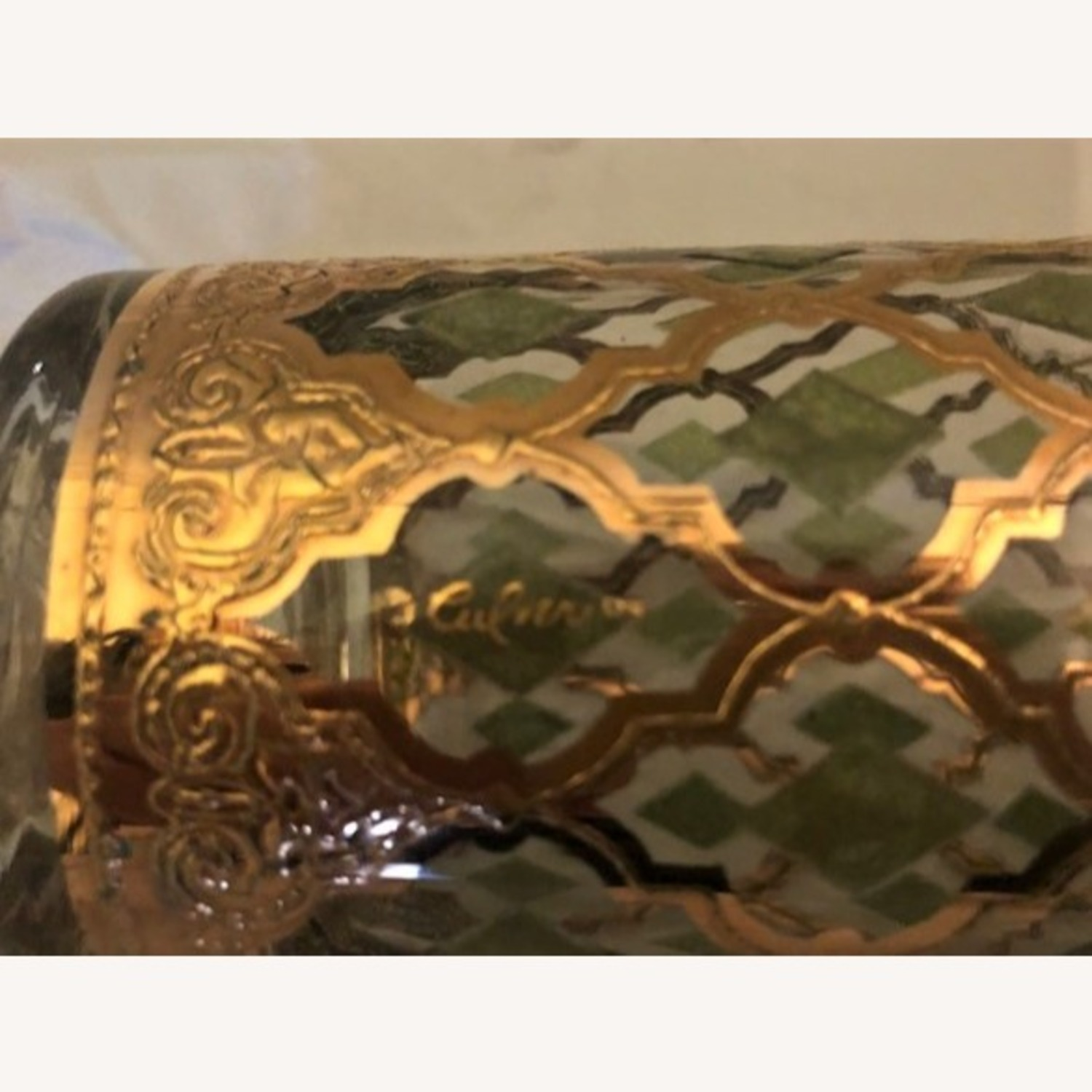 Pair of Mid-Century Gold & Green Culver Glasses - image-3