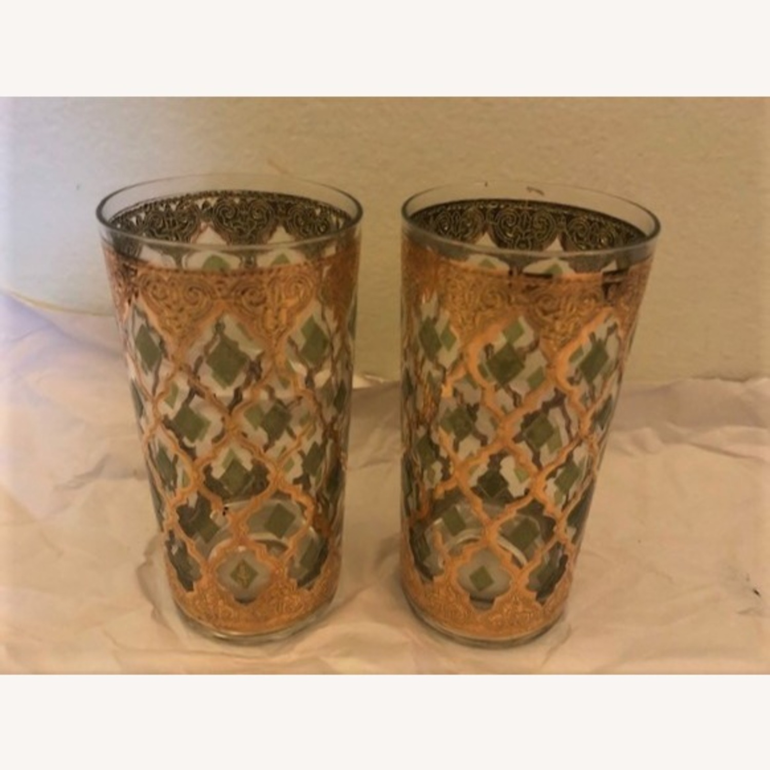 Pair of Mid-Century Gold & Green Culver Glasses - image-0