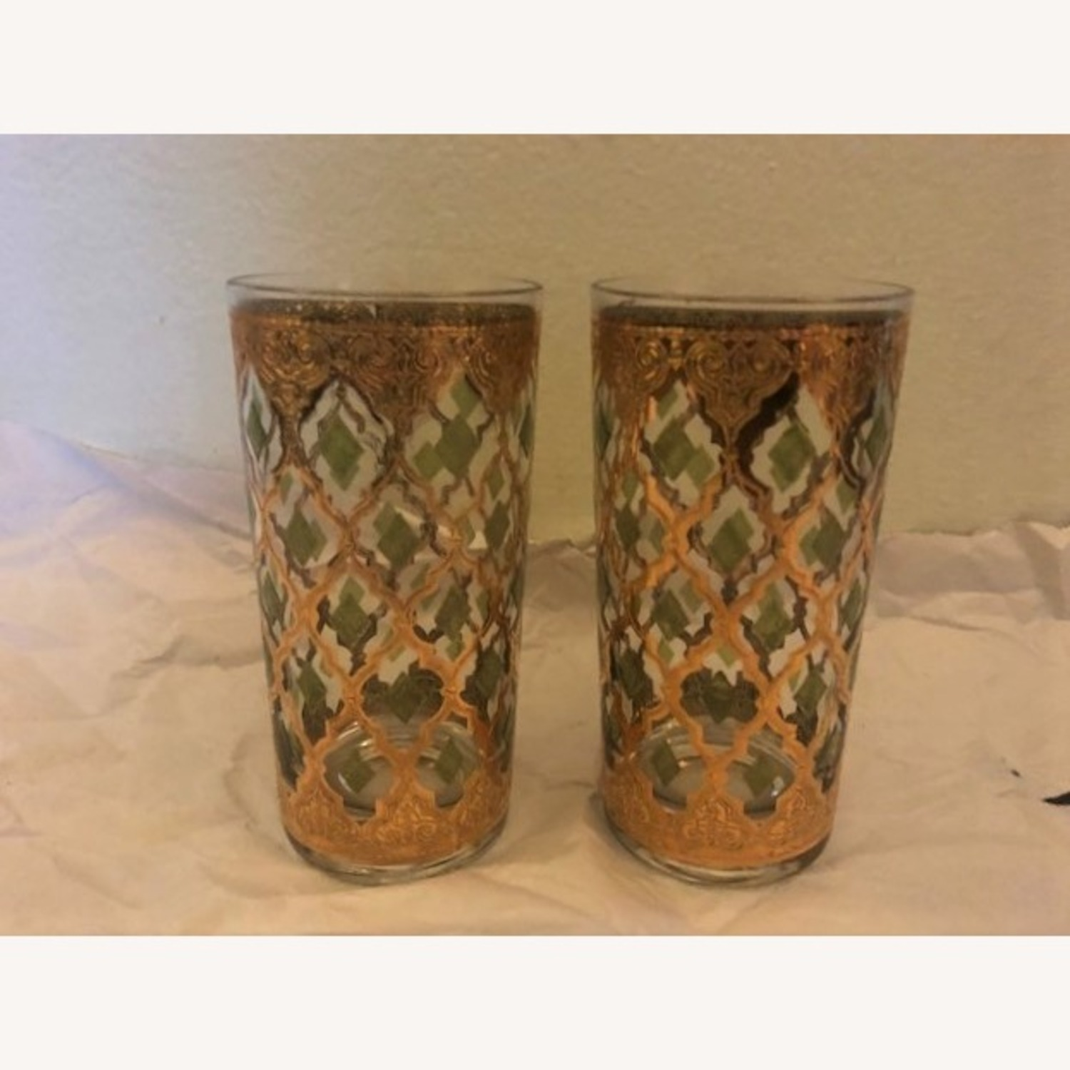 Pair of Mid-Century Gold & Green Culver Glasses - image-1