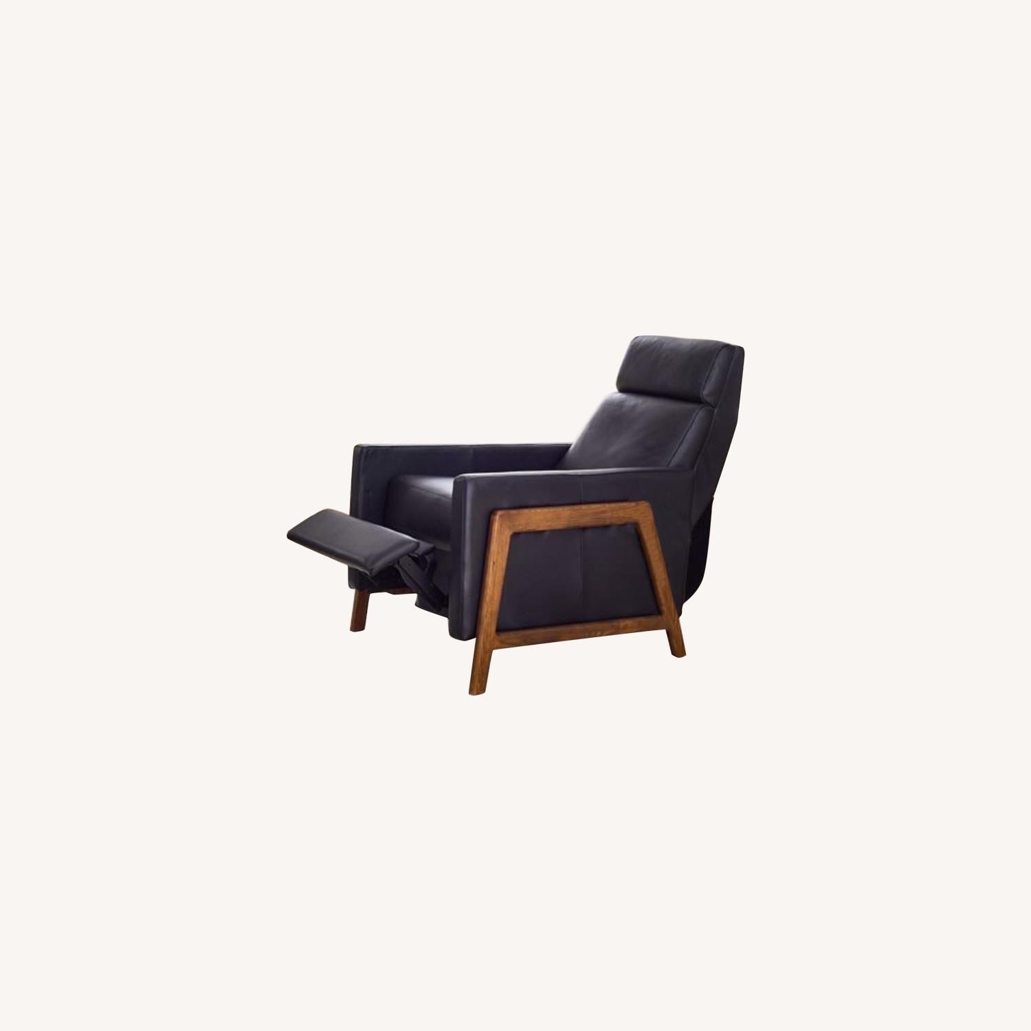 West Elm Black Leather Recliner Chair - image-0