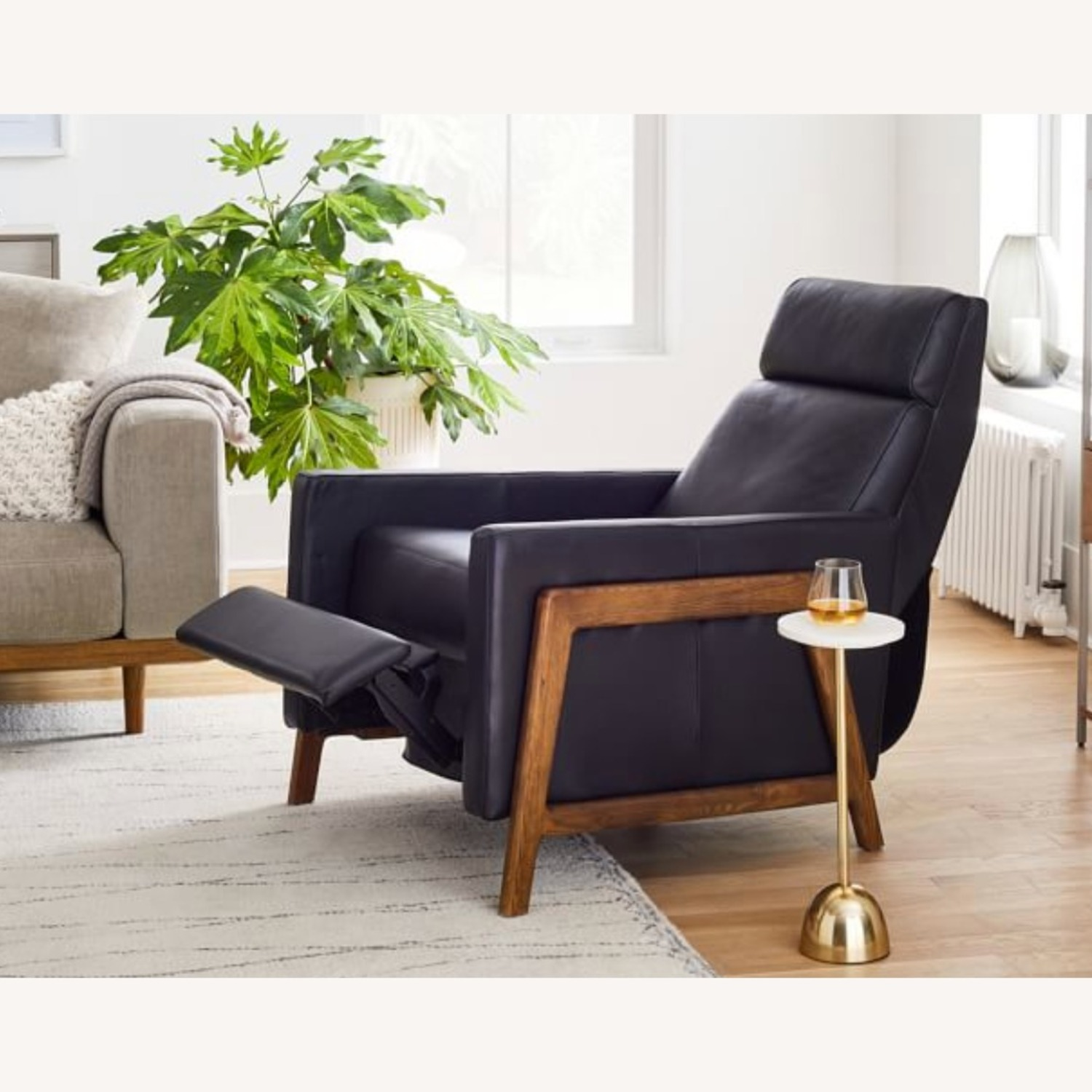 West Elm Black Leather Recliner Chair - image-3