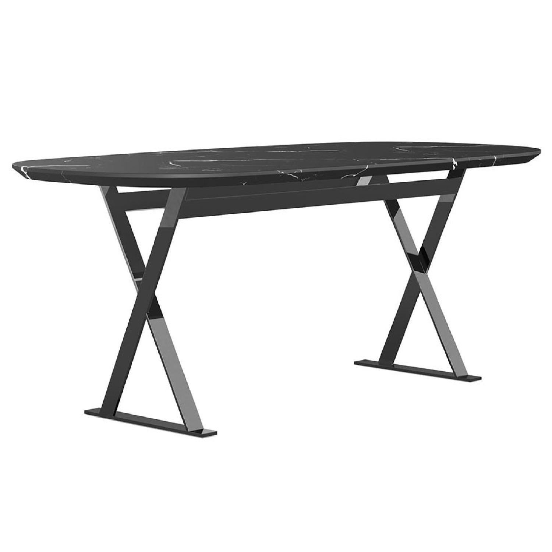 Modloft Modern Furniture Black Marble Composite Dining Table - image-8