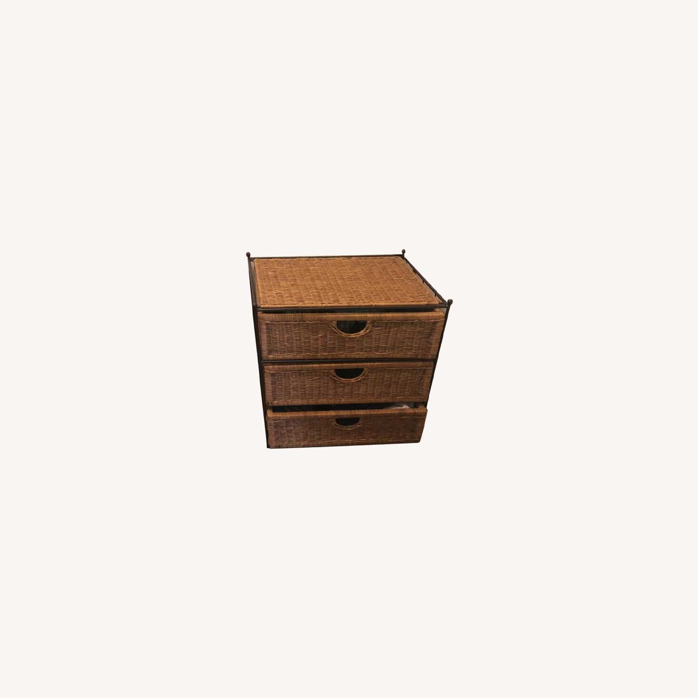 Shelf Wicker Baskets Storage - 3 Drawer - image-0