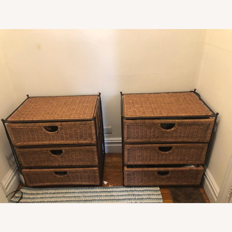 Shelf Wicker Baskets Storage - 3 Drawer - image-1