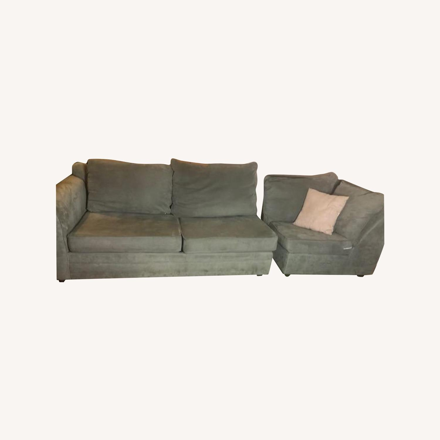 Bob's Discount Right Arm 2 Seater Sofa and Corner Chair - image-0