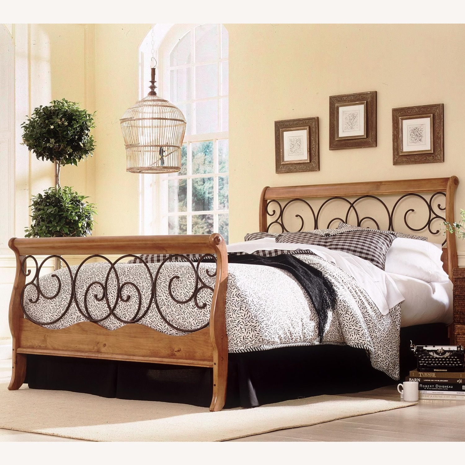 Wayfair Wood and Metal Sleigh Bed - image-1