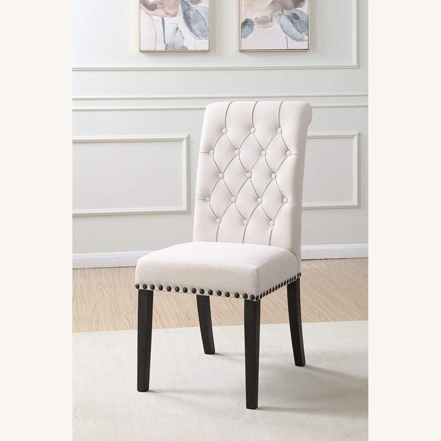 Traditional Side Chair Upholstered In Beige Fabric - image-3