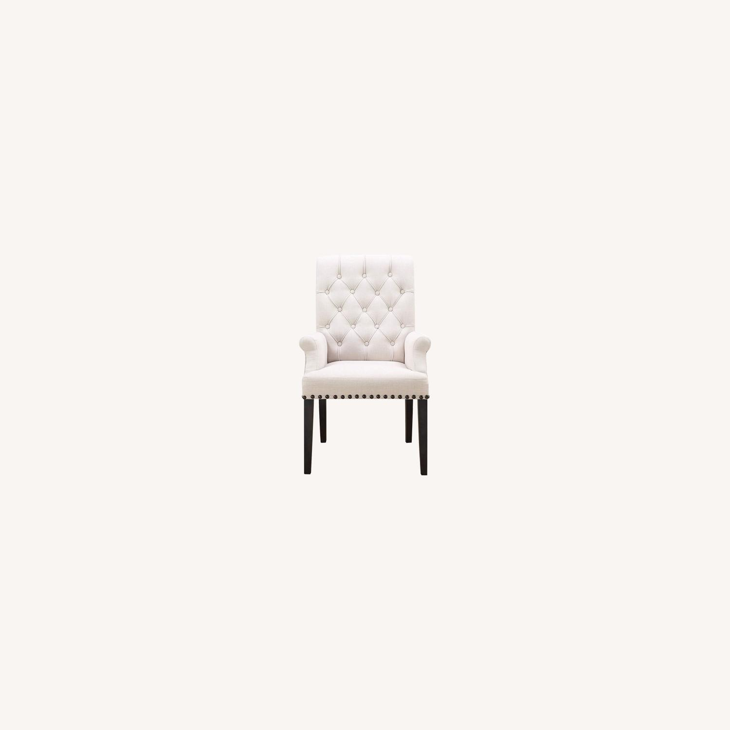 Modern Arm Chair In Beige Fabric - image-5