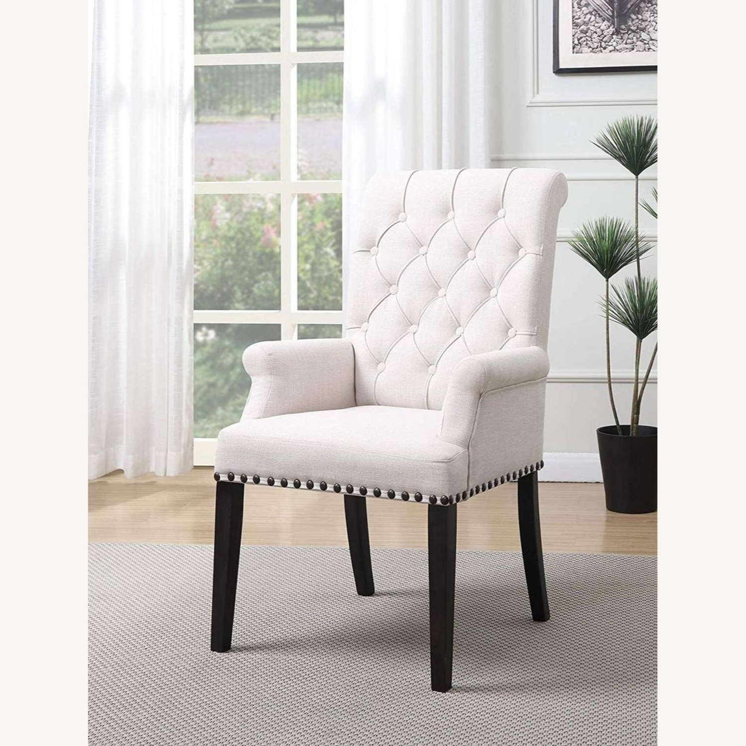 Modern Arm Chair In Beige Fabric - image-3