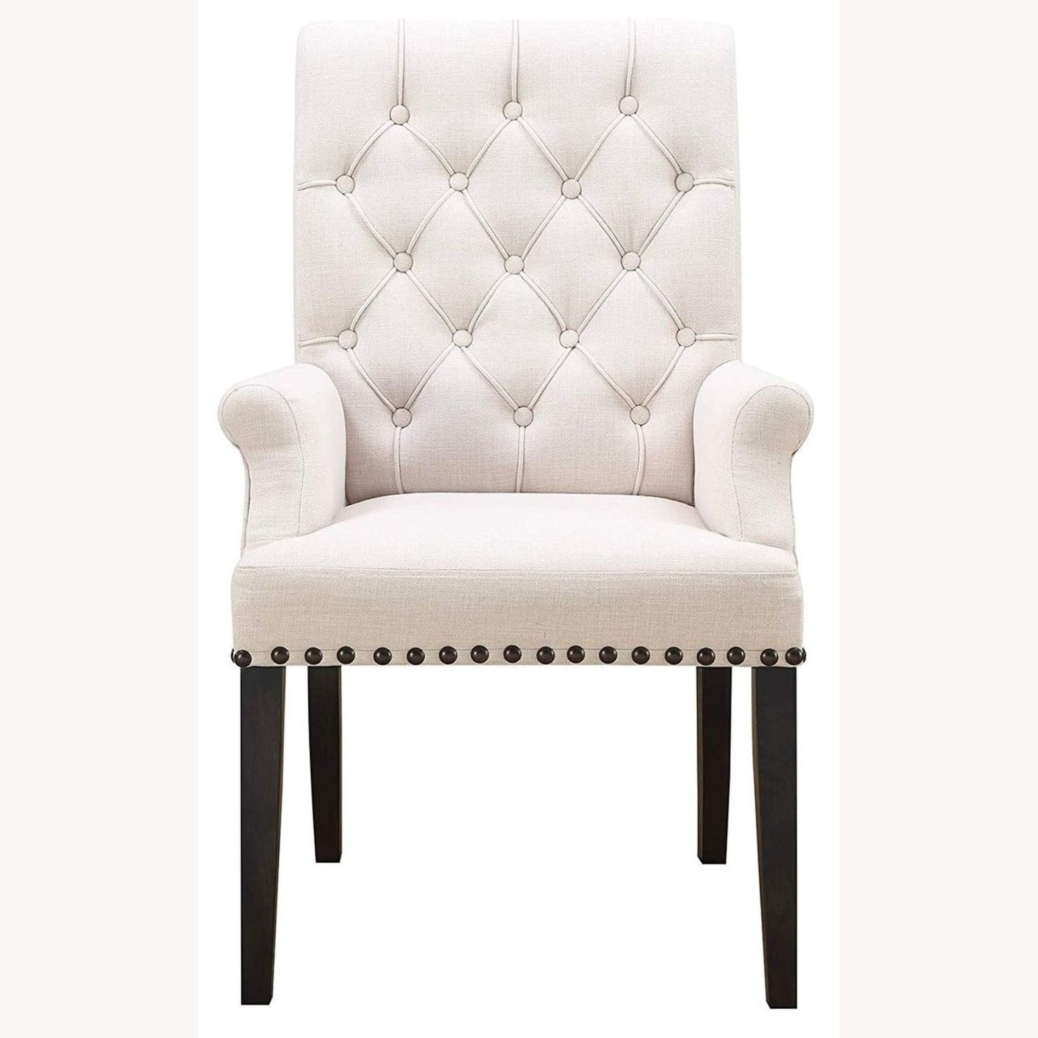 Modern Arm Chair In Beige Fabric - image-1