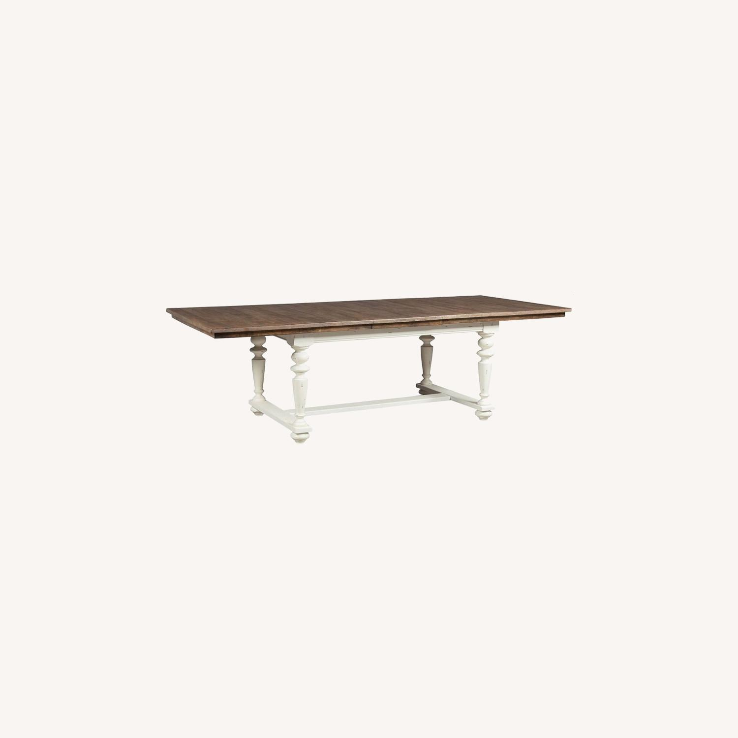 Rustic Dining Table In Vintage White - image-3
