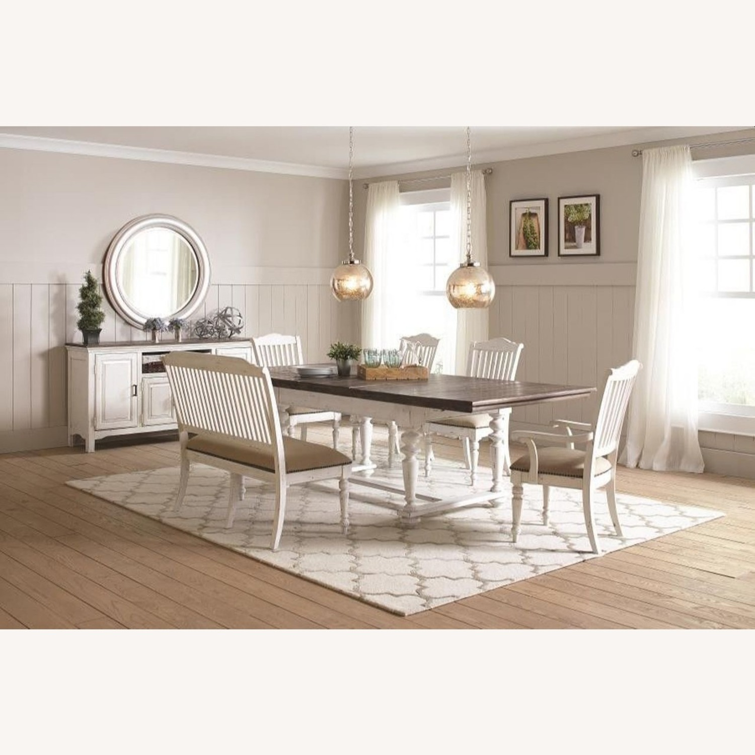 Rustic Dining Table In Vintage White - image-2