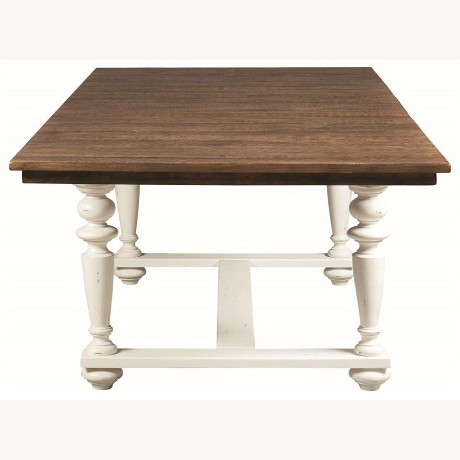 Rustic Dining Table In Vintage White - image-1