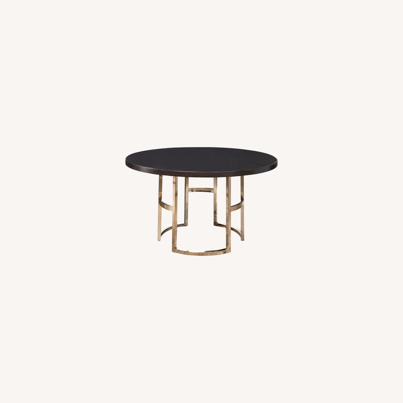 Elegant Round Dining Table In Dark Brown - image-3