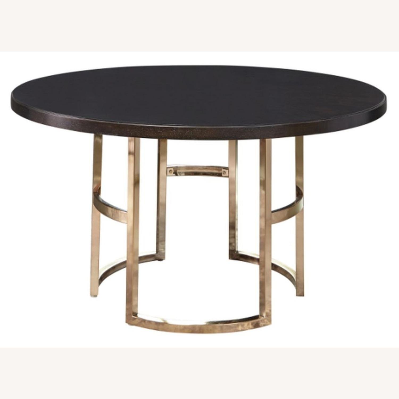 Elegant Round Dining Table In Dark Brown - image-0