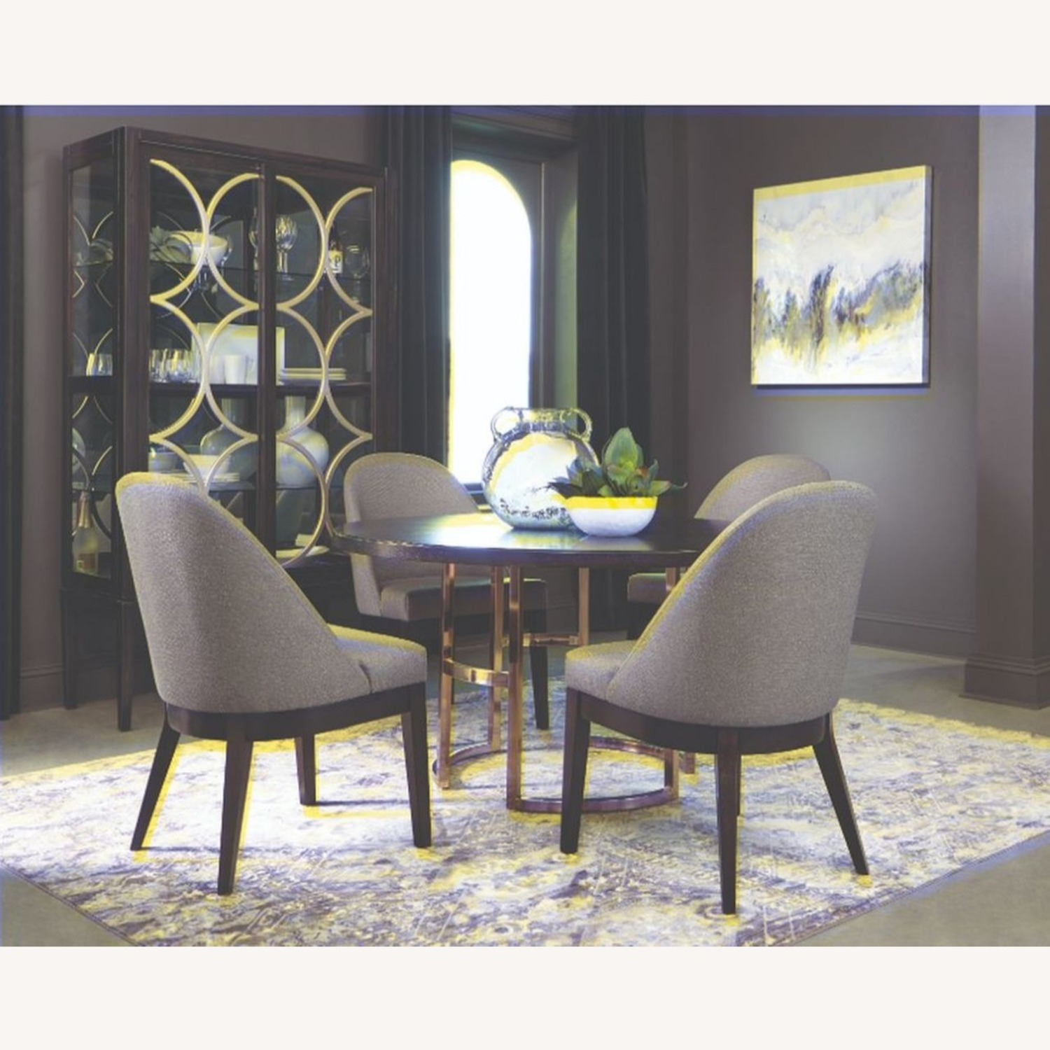 Glamorous Dining Chair In Light Grey Fabric - image-2