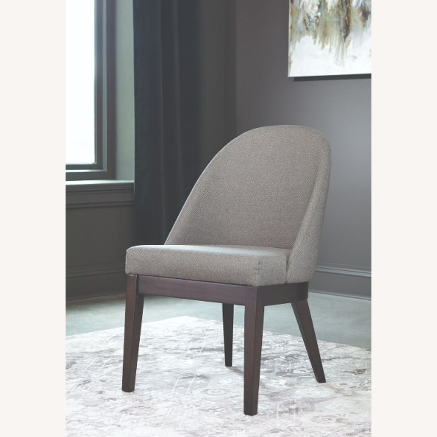 Glamorous Dining Chair In Light Grey Fabric - image-1