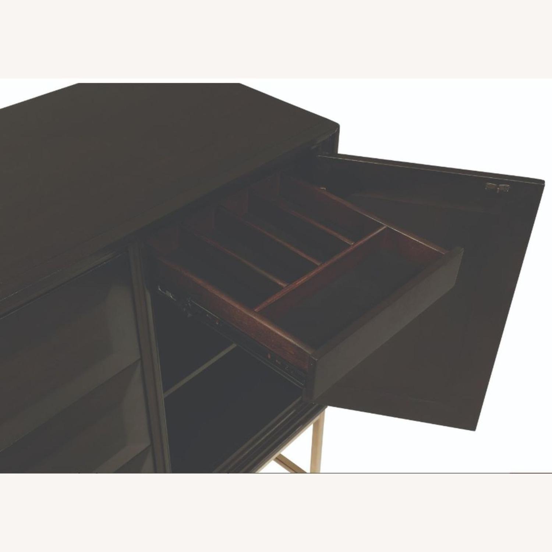 Modern Server In Dark Brown And Rose Brass Finish - image-2