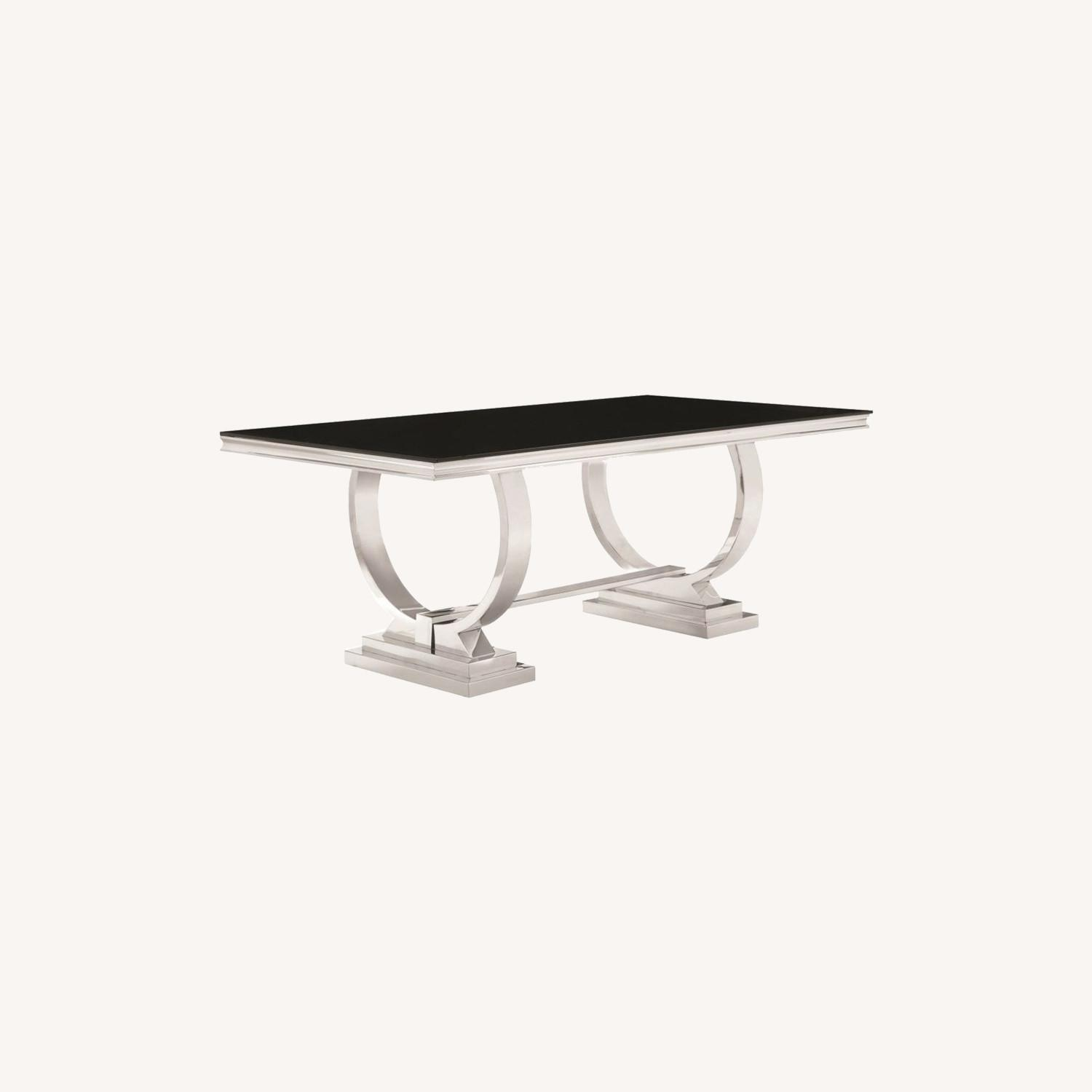 Modern Dining Table In Chrome Finish - image-3