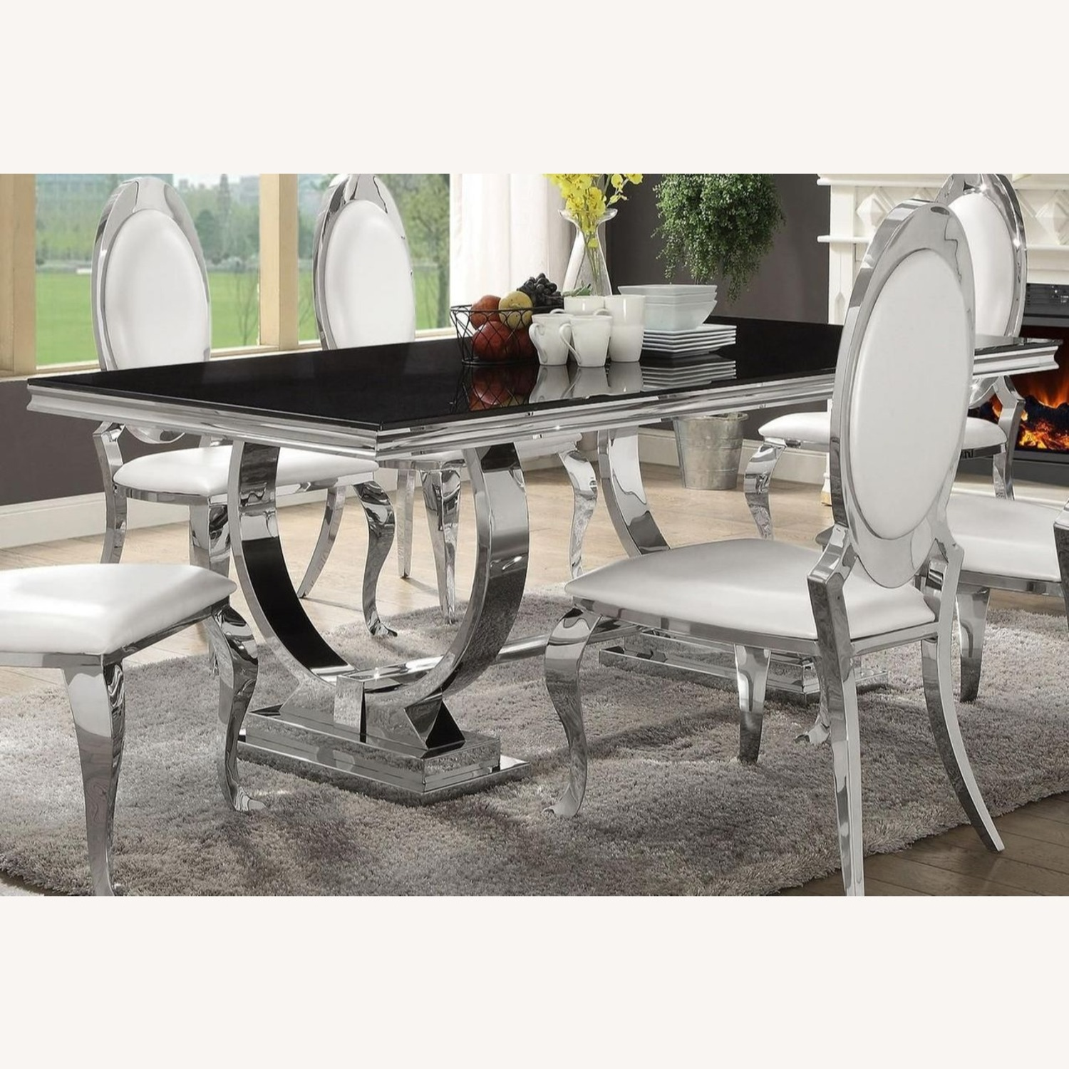 Modern Dining Table In Chrome Finish - image-2