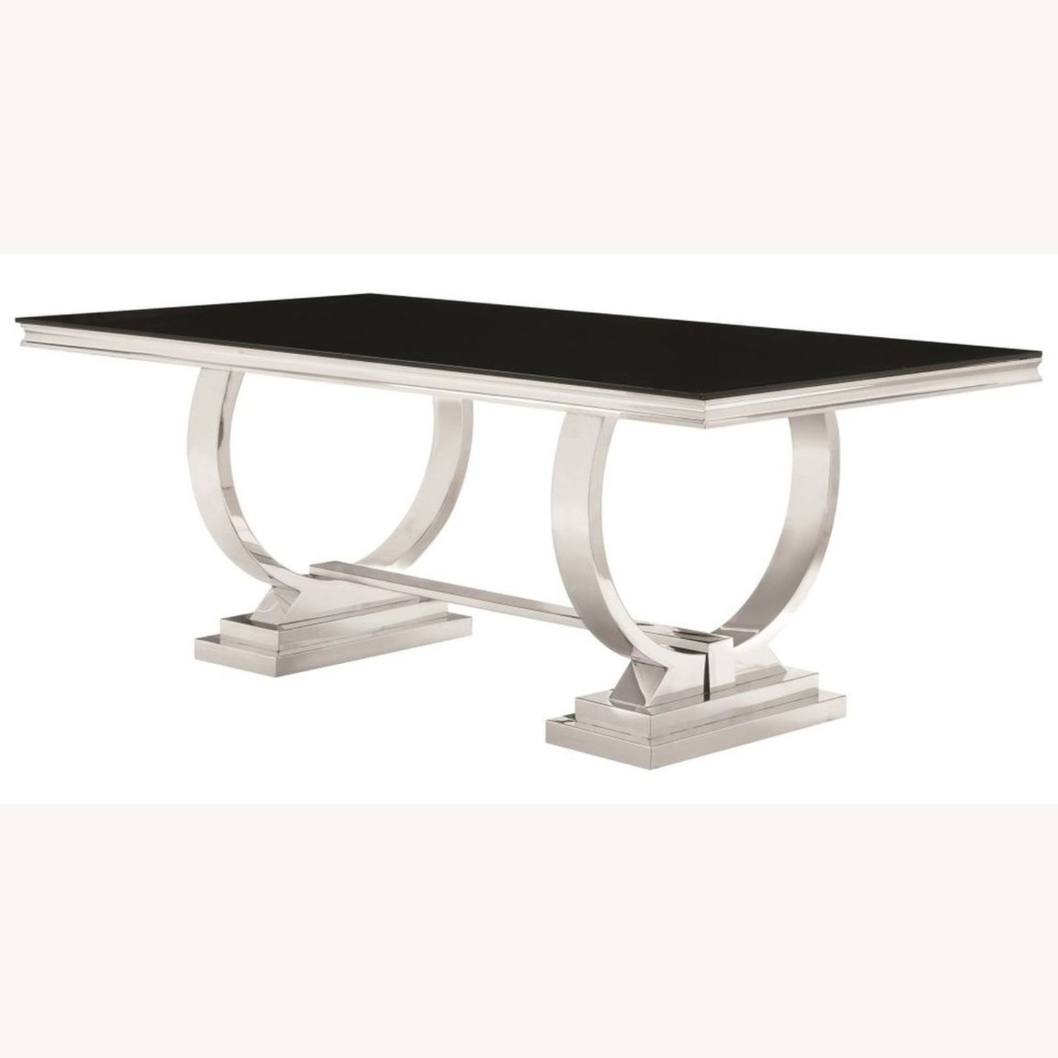 Modern Dining Table In Chrome Finish - image-1