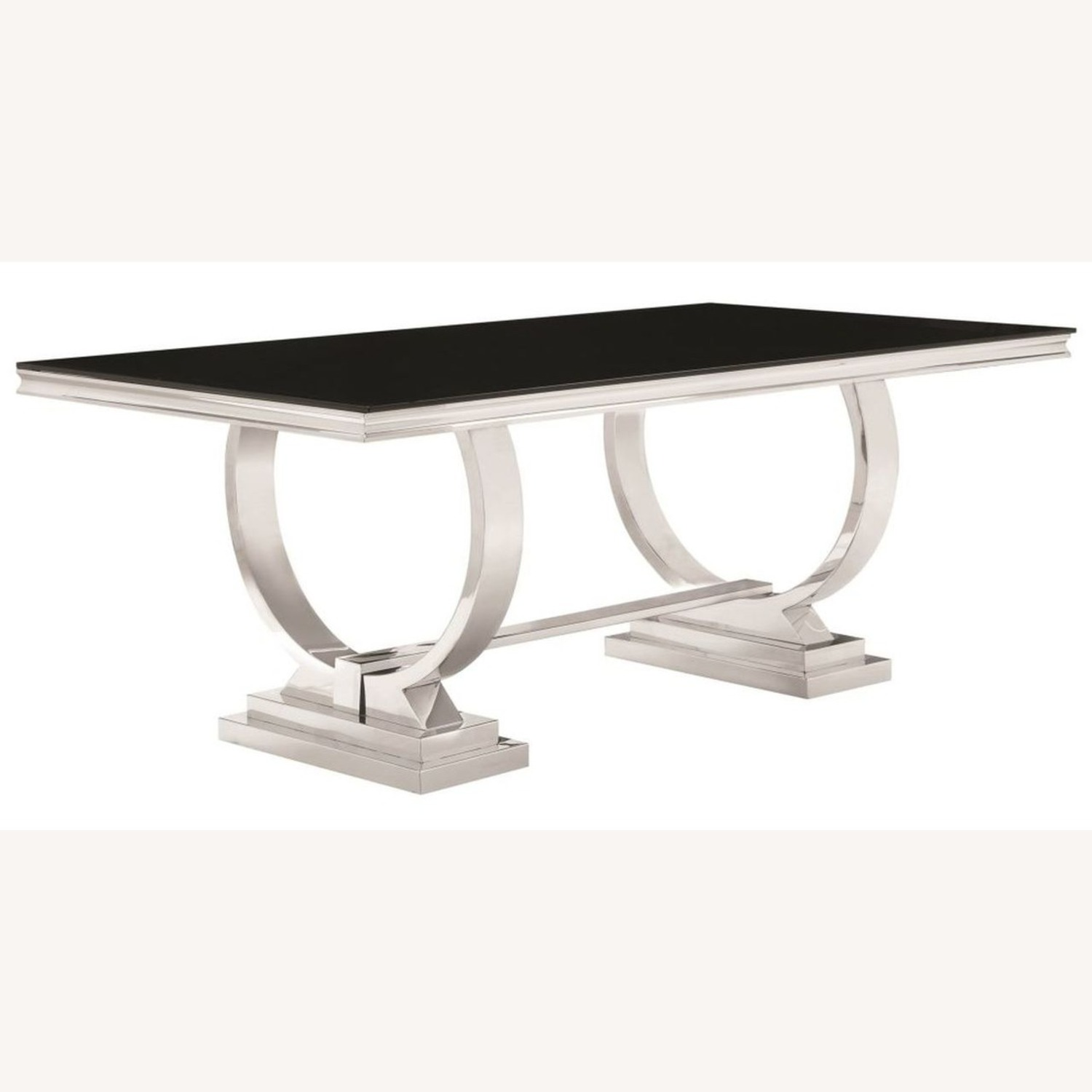 Modern Dining Table In Chrome Finish - image-0