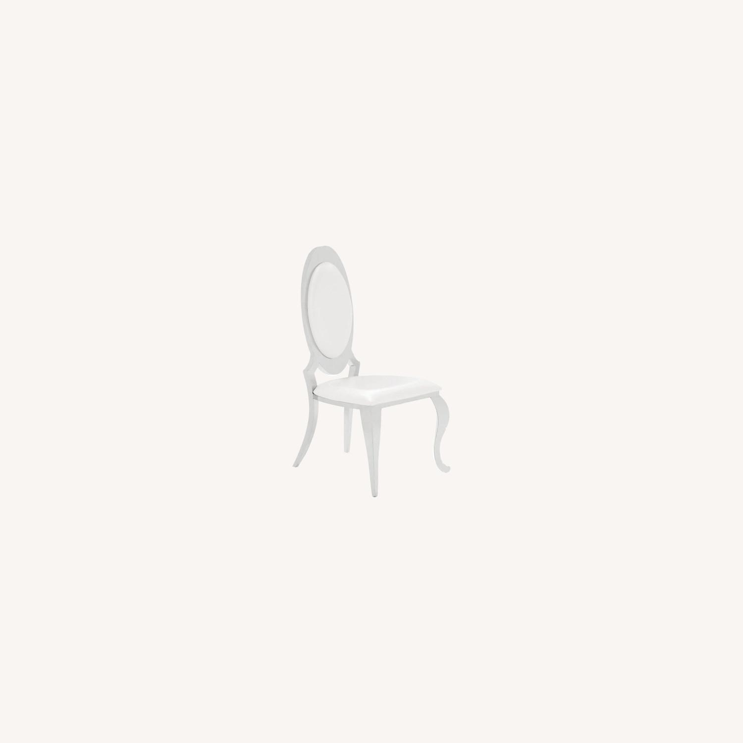 Modern Side Chair In Creamy White Upholstery - image-4